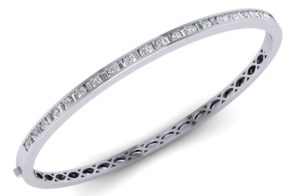 FB0003 Round & Baguette Cut Diamonds Bangle Platinum Fine Diamonds R us