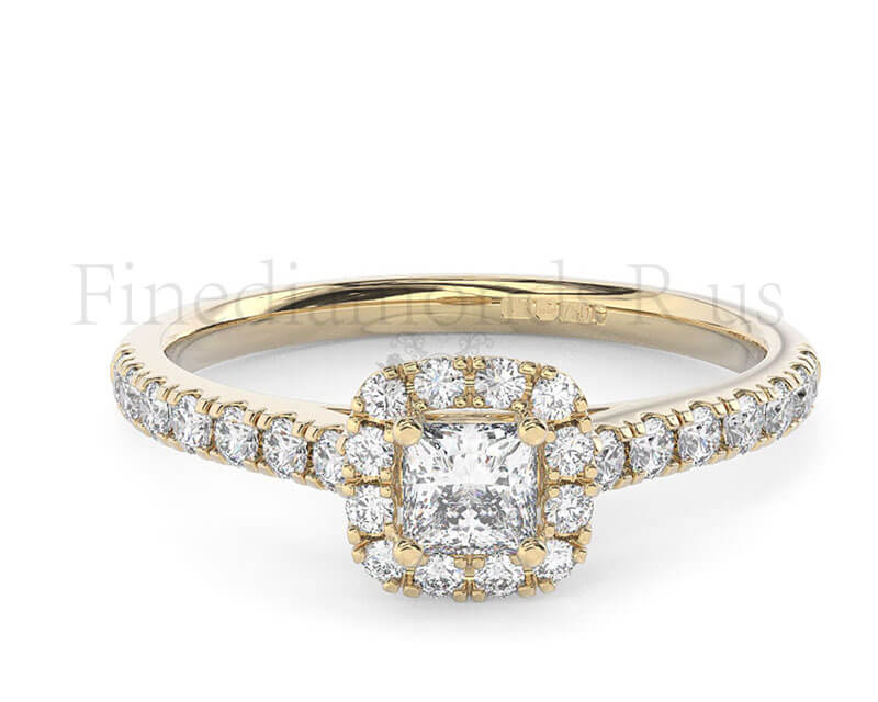 065ct round brilliant and princess cut diamond halo