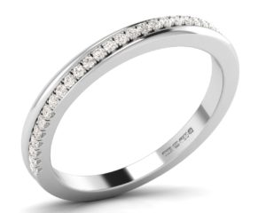 Earthstar Diamonds F2.5R1057 Pave Set Round Diamonds Half Eternity Ring in White Gold
