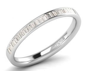 Earth Star Diamonds F2.5R1094 Channel Set Buguette Cut Diamonds Half Eternity Ring White Gold