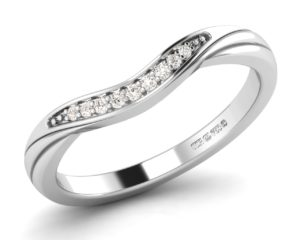 Earthstar Diamonds F2R1070 Pave Set Round Brilliant Cut DiamondsHalf Eternity Ring in White Gold