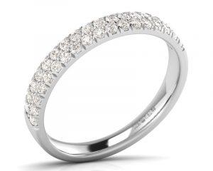 Earthstar Diamonds F3.0R0757 Claw Set Double Row Round Brilliant Cut Half Eternity in White Gold