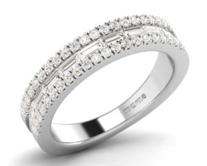 Earthstar Diamonds F4.5R1080 Channel Set Baguette & Round Diamonds Half Eternity Ring in White Gold