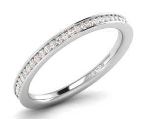 Earthstar Diamonds FR01006 2.00MM Pave Set Round Diamonds Half Eternity Ring white Gold