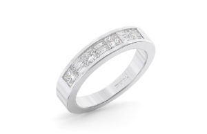 Earthstar Diamonds FR01122 Channel Set Baguette Diamonds Half Eternity Ring in White Gold