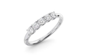 Earthstar Diamonds FR01147-HT-Claw Set Round Diamonds Half Eternity Ring White Gold