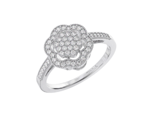 Earthstar Diamonds FR01153 Pave Set Round Diamond Cluster Engagement Ring in White Gold