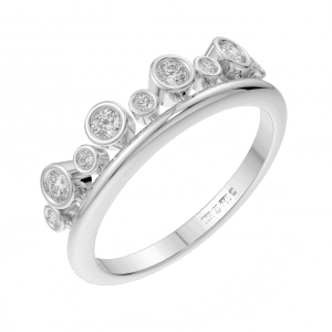 Earthstar Diamonds FR01190 Bezel Set Round Diamonds Half Eternity Ring in White Gold