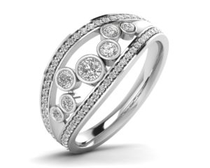 Earthstar Diamonds FR0767 Bezel Set Round Diamonds Half Eternity Ring In White Gold