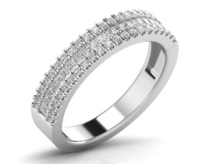 Earthstar Diamonds FR0886 Channel Round & Baguette Set Half Eternity Ring in White Gold