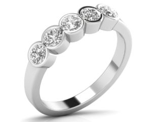 Earthstar Diamonds FR0897 Bezel Set Round Brilliant Cut Diamond Half Eternity Ring in White Gold