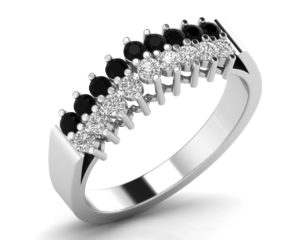 Earthstar Diamonds FR0899BLK-B Round Brilliant Cut Black Diamonds Ring in White Gold