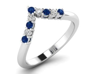 Earthstar Diamonds FR0903 Claw Set Round Diamonds & Blue Sapphire Half Eternity Ring in White Gold
