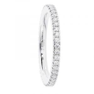 Earth Star Diamonds Claw Set Round Brilliant Cut Diamonds 2.00MM Full Eternity Ring In Platinum