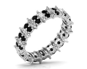 Earthstar Diamonds FR0888BL Claw Set Marquise & Black Diamonds Full Eternity Ring in White Gold