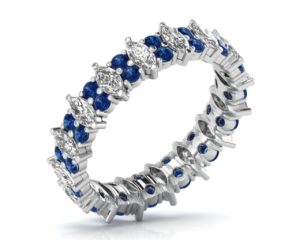 Earthstar Diamonds FR0888BL Claw Set Marquise & Blue Sapphire Full Eternity Ring in White Gold