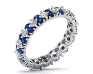 Earthstar Diamonds FR0890BL Claw Set Princess & Blue Shapphier Diamonds Full Eternity Ring in White Gold