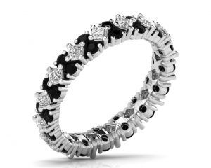 Earthstar Diamonds FR0890BLK Claw Set Princess & Black Diamonds Full Eternity Ring in White Gold