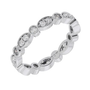Earthstar Diamonds FR1218 Pave Set Round Diamonds Eternity Ring in White Gold