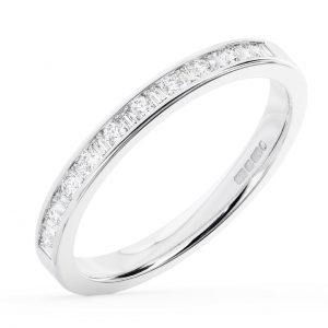 EarthStar Diamonds FR13004522 Channel Set Baguette & Round Cut Diamonds Half Eternity Ring White Gold