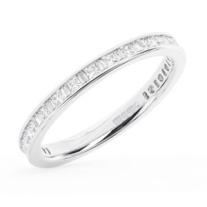 Earth Star Diamonds FR13002 75-per Channel Set Baguette & Princess Cut Diamonds Half Eternity Ring in White Gold