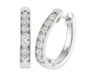 Earth Star Diamonds EF0888 Round Brilliant Cut Diamonds Hoop Earrings in White Gold