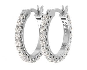 EF0900 Round Brilliant Cut Diamonds Hoop Earrings-2