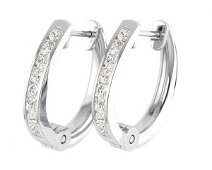 Earth Star Diamonds EF0902 Round and Princes Brilliant Cut Diamonds Hoop Earrings in White Gold