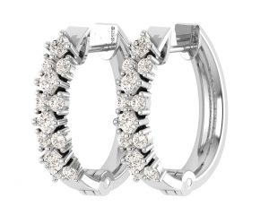 Earth Star Diamonds EF0903 Round and Princes Brilliant Cut Diamonds Hoop Earrings in White Gold