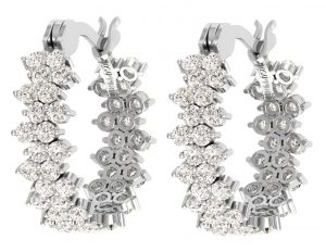 Earth Star Diamonds EF0904 Round Brilliant Cut Diamonds Hoop Earrings in White Gold