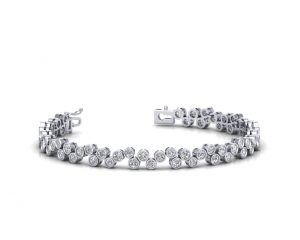 Earth Star Diamonds FB0011 Bezel Set Round Brilliant Cut Diamonds Tennis Bracelet in White Gold