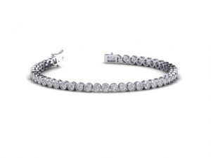 Earth Star Diamonds FB0013 Bezel Set Round Brilliant Cut Diamonds Tennis Bracelet in White Gold