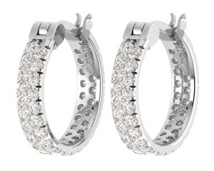Earth Star Diamonds FE0877 Round Brilliant Cut Diamonds Hoop Earrings in White Gold