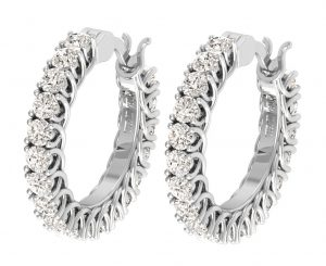 Earth Star Diamonds FE0901 Round Brilliant Cut Diamonds Hoop Earrings in White Gold