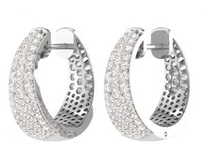 Earth Star Diamonds FE0916 Round Brilliant Cut Diamonds Hoop Earrings in White Gold