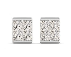 Earth Star Diamonds FE0919 Princess Cut Diamonds Studs in White Gold