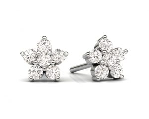Earth Star Diamonds FE0926 Claw Set Diamonds Stud Earring in White Gold