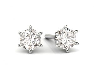 Earth Star Diamonds FE0929 Claw Set Diamonds Stud Earring in White Gold