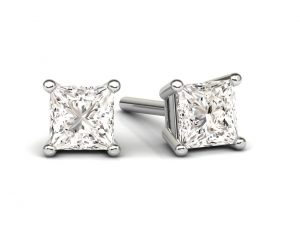 Earth Star Diamonds FE0930 Claw Set Diamonds Stud Earring in White Gold