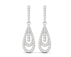 Earth Star Diamonds FE0931 Pave Set Diamonds Drop Earring in White Gold