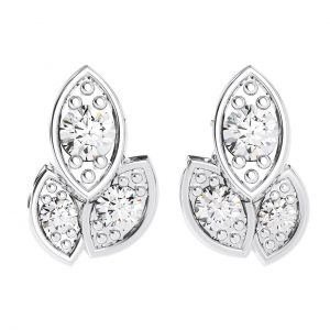 Earth Star Diamonds FE0932 Pave Set Diamonds Stud Earring in White Gold