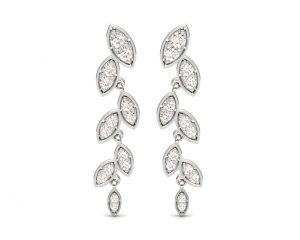 Earth Star Diamonds FE0937 Pave Set Diamonds Drop Earring in White Gold