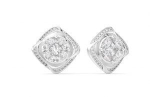 Earth Star Diamonds FE0946 Round Brilliant, Marquise & Princess Cut Diamonds Studs Earring in White Gold
