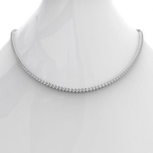 Earth Star Diamonds FNK00528 Diamond Tennis Necklace in White Gold