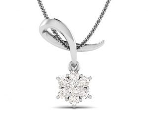 Earth Star Diamonds FP0261 Claw Set Diamonds Designer Pendant in White Gold