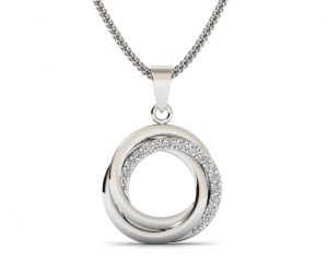 Earth Star Diamonds FP0287 Pave Set Round Brilliant Cut Diamonds Designer Pendant in White Gold