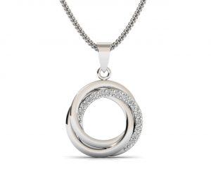 Earth Star Diamonds FP0287 Pave Set Round Brilliant Cut Diamonds Designer Pendant in White Gold