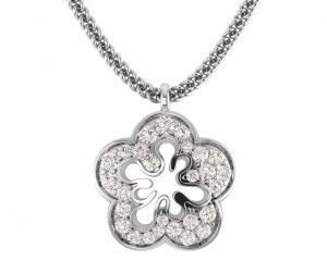 Earth Star Diamonds FP0296 Plate Prong Set Diamonds Designer Pendant in White Gold