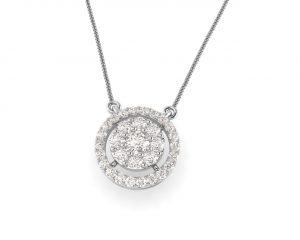 Earth Star Diamonds FP0402 Pave Set Diamonds Designer Pendent in White Gold