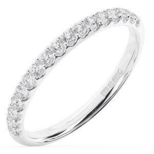 Earth Star Diamonds FR01314 Claw Set Round Brilliant Cut Half Eternity Wedding Ring in White Gold